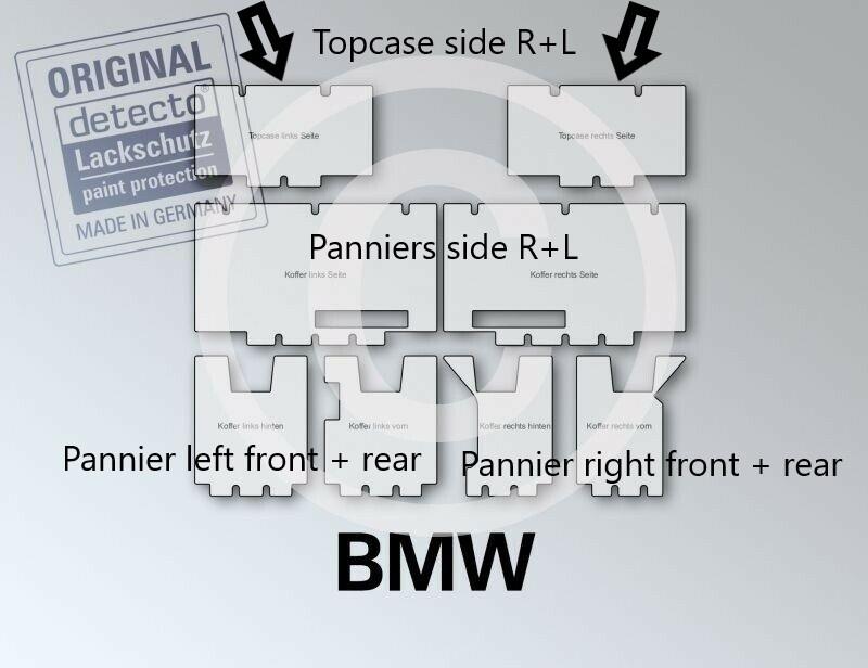 transparent gl BMW R1250GS Adventure Lackschutzfolie Set Kofferseiten 8-teilig